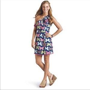 Mud pie One Shoulder Butterfly Dress w/ Pom Pom